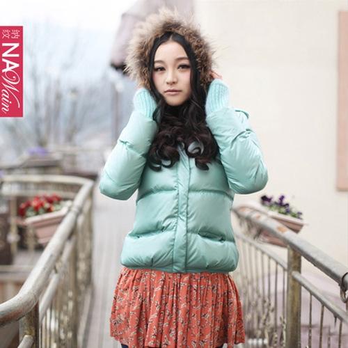 2012新款女装中长款外套羽绒服大毛帽子